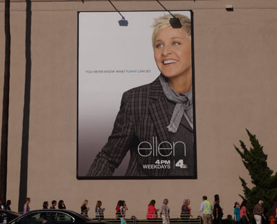 Poster of Ellen outside Warner Bros. Studios lot in Burbank, California