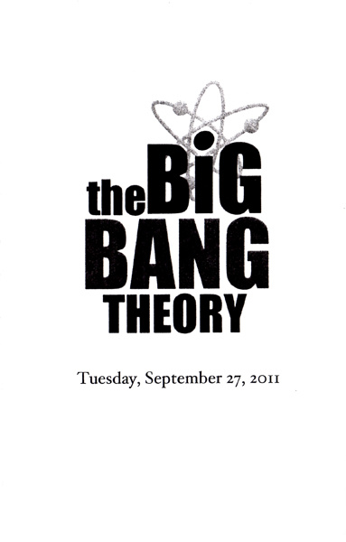 Cover of the program that we received when we attended a filming of The Big Bang Theory