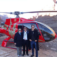 Landing in a helicopter in the Grand Canyon